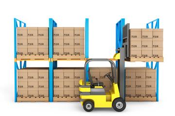 Forklift truck work in warehouse