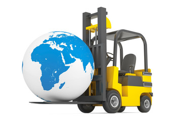 Forklift Truck moves Earth Globe