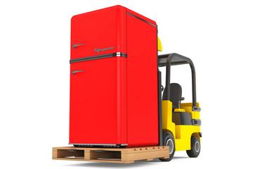 Forklift Truck moves Vintage Refrigerator
