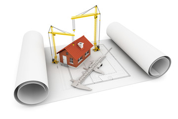 3d house with caliper and Hoisting Crane over architect blueprin