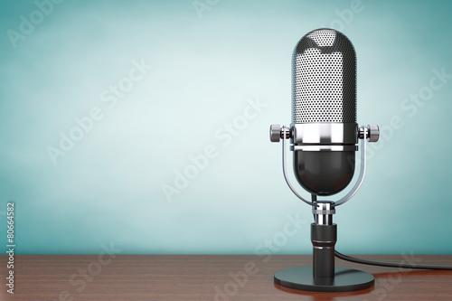 Leinwanddruck Bild Old Style hoto. Retro Microphone