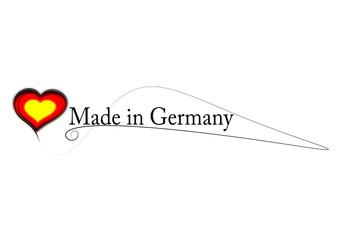 Made in Germany mit schwarzrotgoldenem Herz