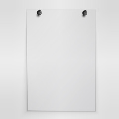 Blank white poster hanging on wall. Vector.