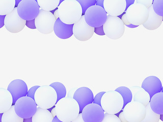 white and purple balloons isolated