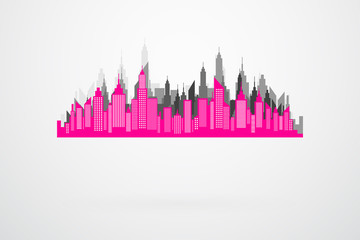 Modern City Skyline Silhouette In Retro Colors