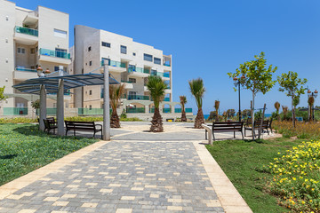Modern buildings and small square in Ashqelon, Israel.