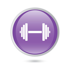 Sports gym equipment. Dumbbell. violet button