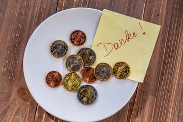 Teller mit Münzen