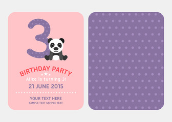 Birthday Party Invitation Card Design Template with Cute Panda