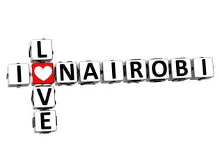 3D Crossword I love Nairobi on white background