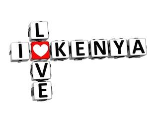 3D Crossword I love Kenya on white background