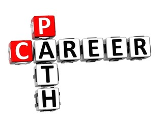 3D Crossword Career Path on white background