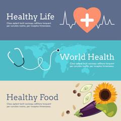 Set of Flat Design Concept for World Health Day