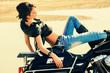 woman on motorbike