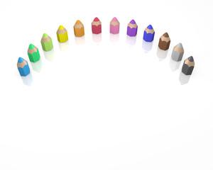 並ぶ小さな色鉛筆