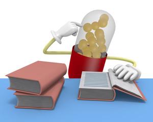 読書する薬のキャラクター