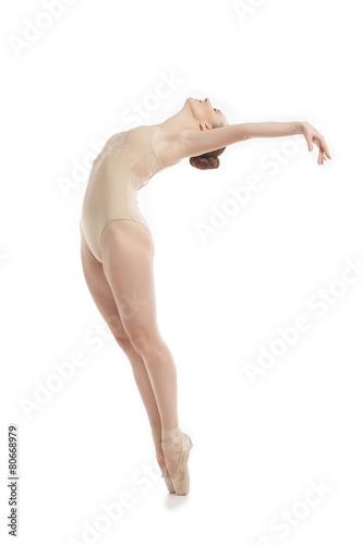 Keuken foto achterwand Dance School young modern ballet dancer jumping on white background