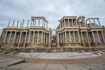 The Roman Theatre in Merida, Spain. Front View