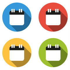 Collection of 4 isolated flat colorful buttons for calendar