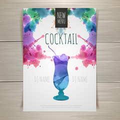 Watercolor cocktail poster