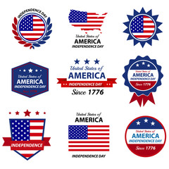 4th Happy Independence day badge and label