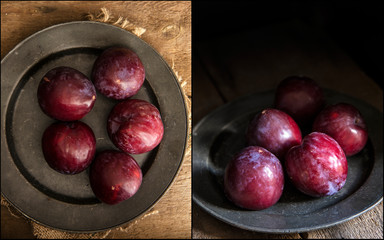 Compilation of images fresh plums in moody natural lighting set