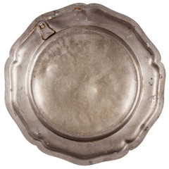 Bottom of old pewter plate