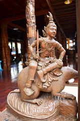 Traditional Thai style wood carving as one of 12 Zodiac