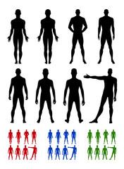 Full length front, back silhouette of man set