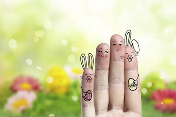 Conceptual easter finger art. Couple with a two bunnys