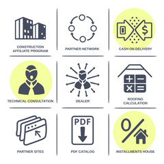 Sale buildings materials (roof, facade) site icons infographics