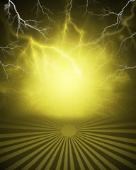 Abstract yellow background with lightning and stripes at bottom