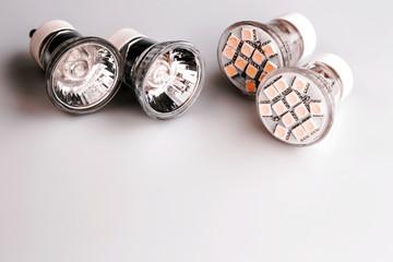 Modern LED bulbs with classic old bulbs