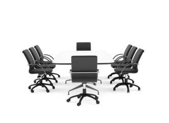 Conference table and chairs. Isolated