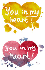 You in my heart watercolor