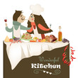 Illustration of couple cooking meal