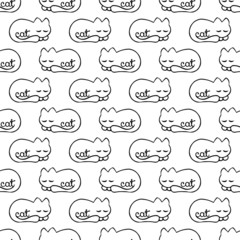 seamless pattern with dream cat