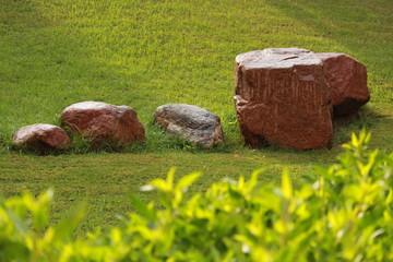 Камни на зелёной траве