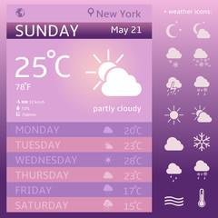 Vector Weather Widget Template. Weather Icon Set.