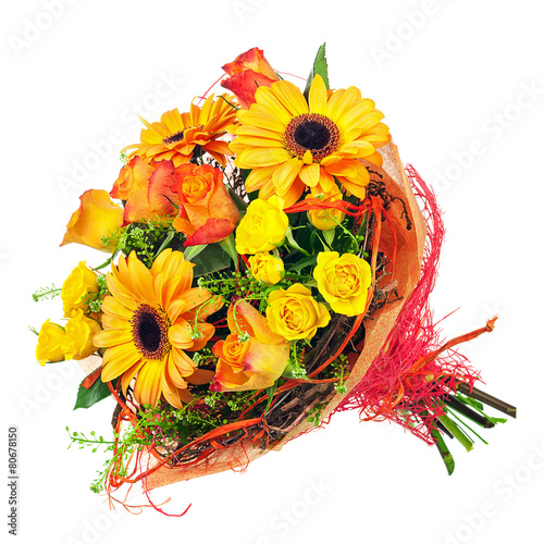 Papiers peints Gerbera Bouquet of gerbera, roses and other flowers isolated on white.