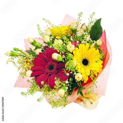 Fotobehang Gerbera Bouquet of gerbera, carnations and other flowers isolated on whi