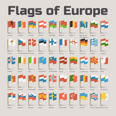 Flags of Europe. Vector Flat Illustration in cartoon style