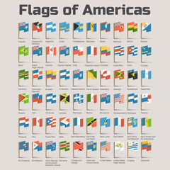 Flags of Americas. Vector Flat Illustration in cartoon style