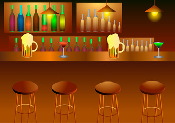 Vector illustration. Interior bar. Beverages.