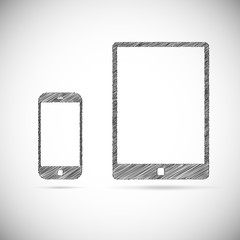 Hand-drawn electronic devices.