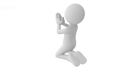 3d man praying with god