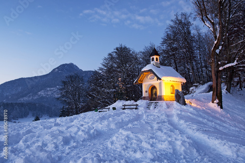 Leinwanddruck Bild Chapel at Lockstein in Berchtesgaden, Germany.