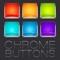 Set of Colorful Chrome Buttons, vector icons