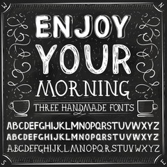 Vector Three Hand Drawn Fonts. Chalkboard Alphabet Lettering