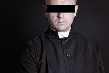 Priest suspect blindfolded